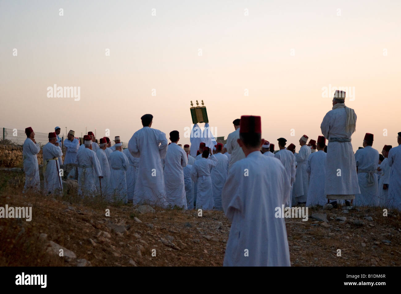 Members of the Samaritan sect with ancient roots in Judaism celebrating the Shavuot feast on mount Gerizim in West Stock Photo
