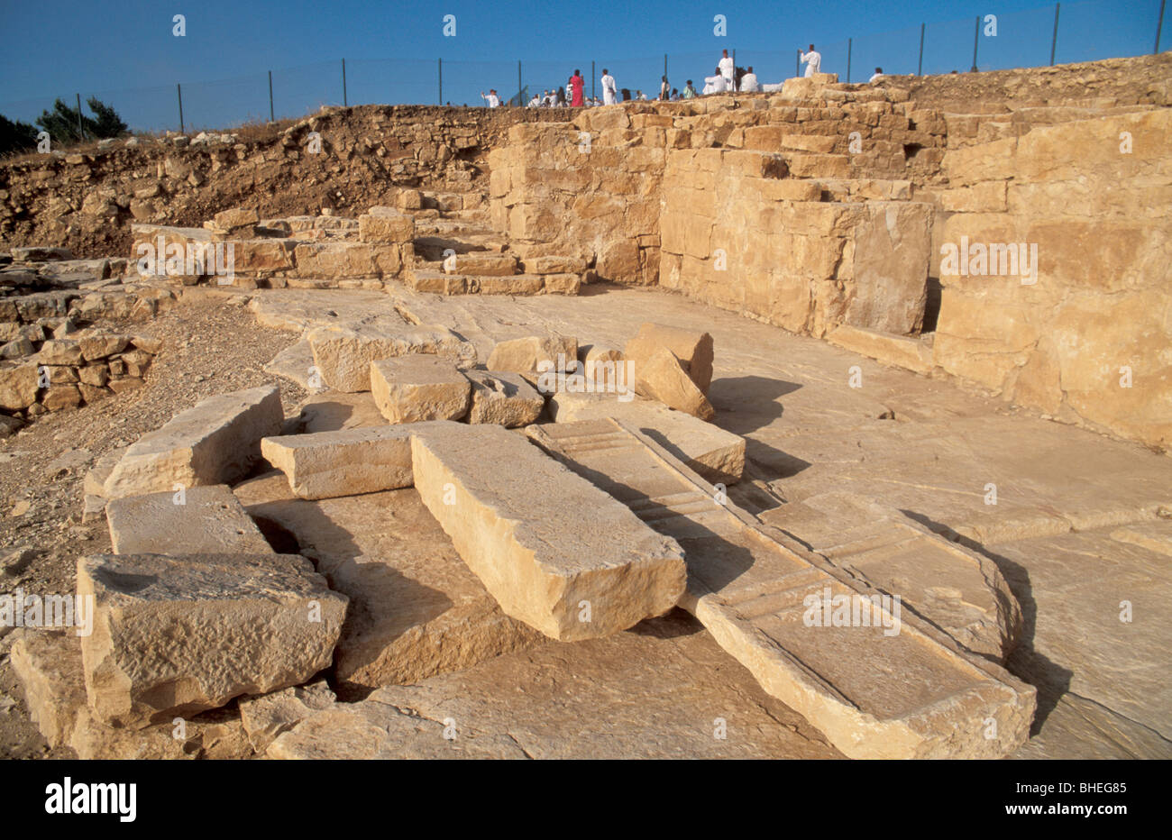 Samaria, the archeological site on Mount Gerizim Stock Photo