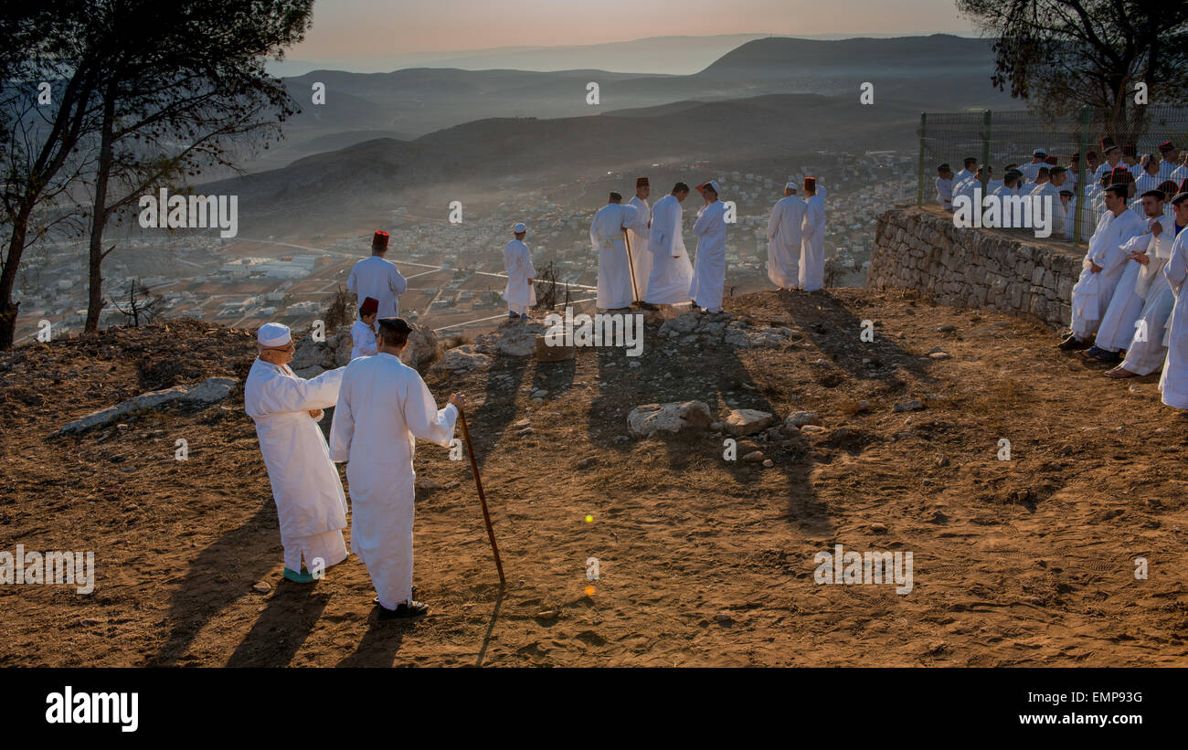 NABLUS, WEST BANK  Members of the ancient Samaritan community during the holy day of Shavuot in Mount Gerizim Stock Photo